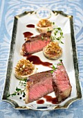Beef tenderloin with stuffed mushrooms