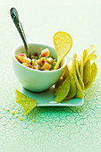 Pineapple and cucumber relish with wasabi chips