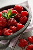 Raspberries in a dish