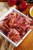 Jamon Serrano Ham on a Dish; Fork