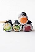 Maki sushi (avocado, cucumber, tuna and salmon)