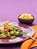 Chicken with onion chutney and green beans