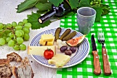 Cheese platter with olives, gherkins, bread and wine