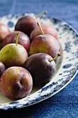 Fresh plums on plate