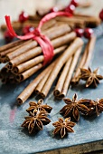 An arrangement of star anise and cinnamon sticks