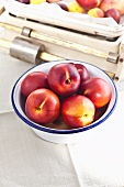 A bowl of nectarines in front of an old pair of kitchen scales