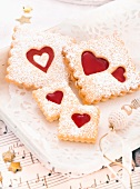 Shortbread biscuits with jam hearts