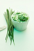 A bowl of chive butter
