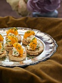 Blinis with cottage cheese and caviar