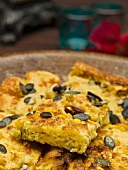 Cornbread with pumpkin seeds and nuts