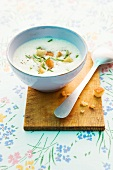 Champignonsuppe mit Croutons