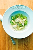 Asparagus soup with herb tortellini