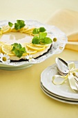 Lemon tart with lemon balm