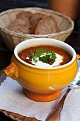 Goulash soup with creme fraiche and parsley