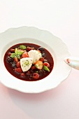 Berry soup with quark dumplings