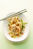 Rice noodle salad with duck and peanuts (Asia)