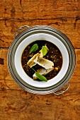 Lentil soup with zander