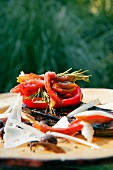 Millesfeuilles with tomatoes, peppers, aubergines and pecorino