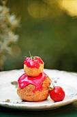 A profiterole with tomato glaze