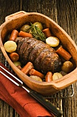 Beef roulade with root vegetables and Guiness