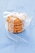 A stack of oat cakes tied with a ribbon