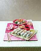 Vietnamese spring rolls and kachumber salad with coconut