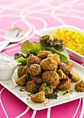 Falafel with tzatziki and saffron rice