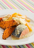 Salmon with sweet potato, orange and coconut milk