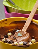 Chocolate dough with dark and white chocolate beans