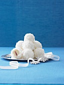 Coconut Snowballs on a Silver Platter; Snowflake Decorations