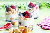 Berry trifle with white chocolate mousse and sponge fingers