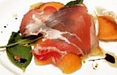Smoked ham with fennel, melon and mozzarella