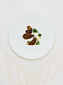 Pheasant breast with chocolate sauce and celery puree