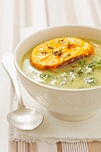 Broccoli soup with cheese crostini