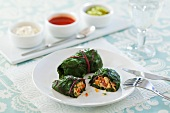 Chard sarma filled with turkey and dips