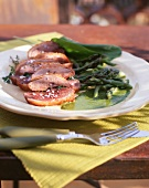 Pan-fried duck breast with green asparagus and sorrel