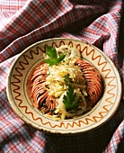 Alsace sausage salad with gruyere