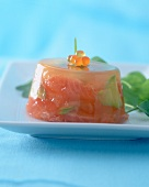 Grapefruit jelly with trout