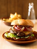 Cheeseburger with Onions, Tomato and Lettuce