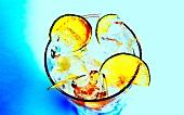 Blue Crack Cocktail mit Wodka und Limettenscheiben
