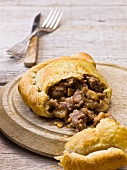 Beef and Stilton pasty, sliced open (England)