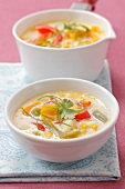 Sweet corn soup with peppers, potatoes and coriander
