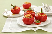 Tomato pepper filled with barley and chicken