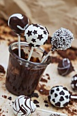 Various cake pops with chocolate and coconut