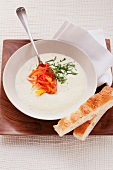 Yoghurt foam soup with julienne vegetables