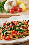 Vegetable Pasta with Tomatoes, Spinach and Bacon
