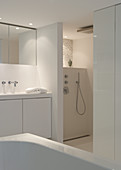 Weisses Designerbad mit abgetrenntem Duschbereich