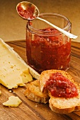 Rhubarb and apple relish with bread and cheese