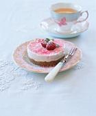 Cream cheese tartlet with raspberries