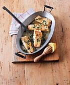 Fried cod with lemon butter and parsley